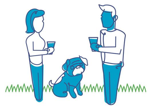 Illustration of a family and their dog.