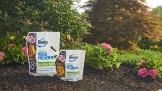 Roundup® Landscape Weed Preventer sitting on a garden bed.